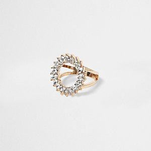 Gold tone rhinestone circle ring