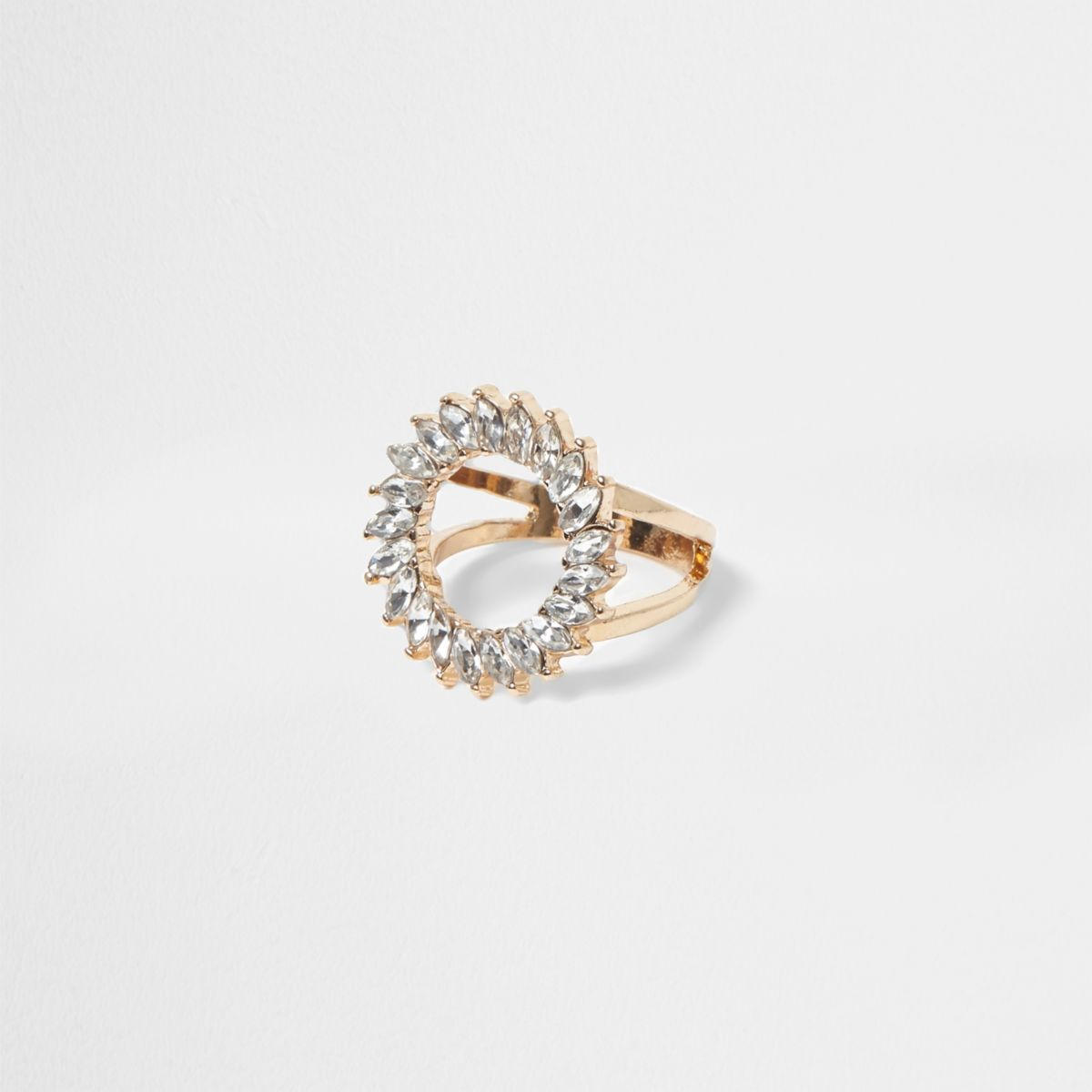 Gold tone rhinestone circle ring