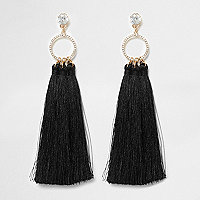 Gold tone black tassel drop earrings