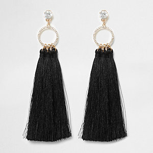 Gold tone black tassel drop earrings