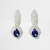 Oorhangers met blauwe steen en stras