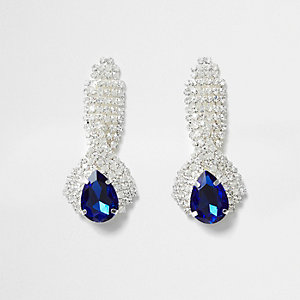 Blue jewel drop stud earrings