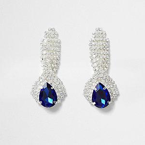 Clous d'oreilles avec pendentif pierres bleues