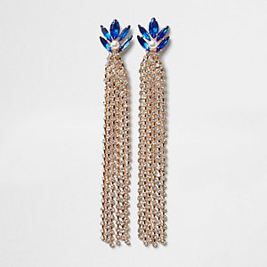 Gold tone cup chain sapphire dangle earrings