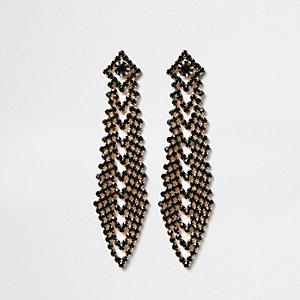 Emerald tone diamante drape drop earrings