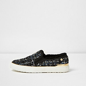 Marineblauwe slip-on gympen van tweed