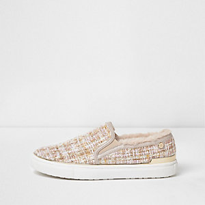 Pink tweed faux fur trim slip on plimsolls