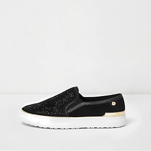 Black rhinestone slip on plimsolls