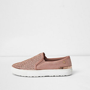 Gold rhinestone slip on plimsolls