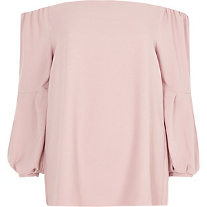 Pink bardot puff long sleeve top
