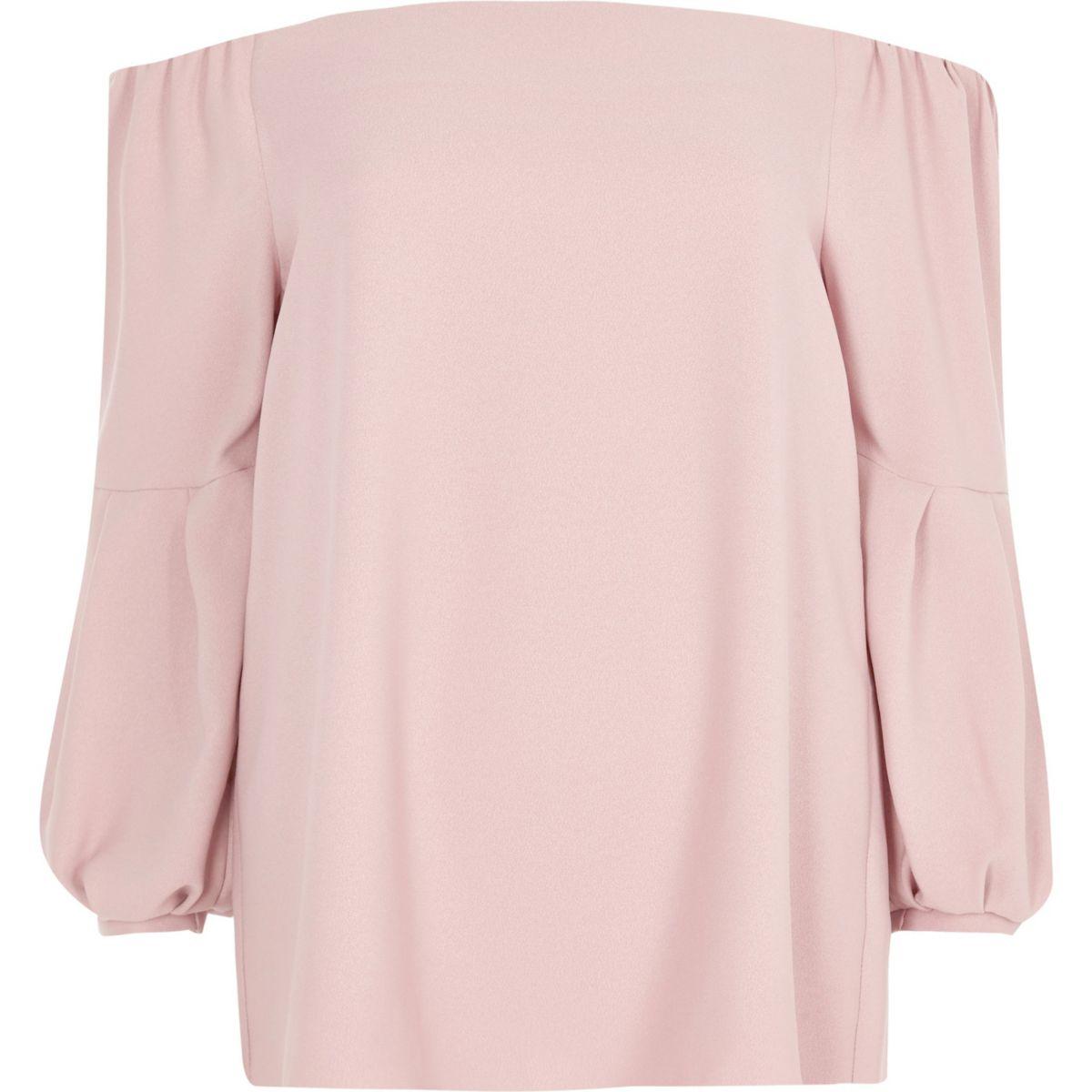 Pink bardot puff long sleeve top