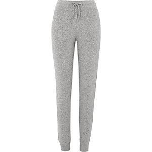 Pantalon de jogging en jersey brossé côtelé gris