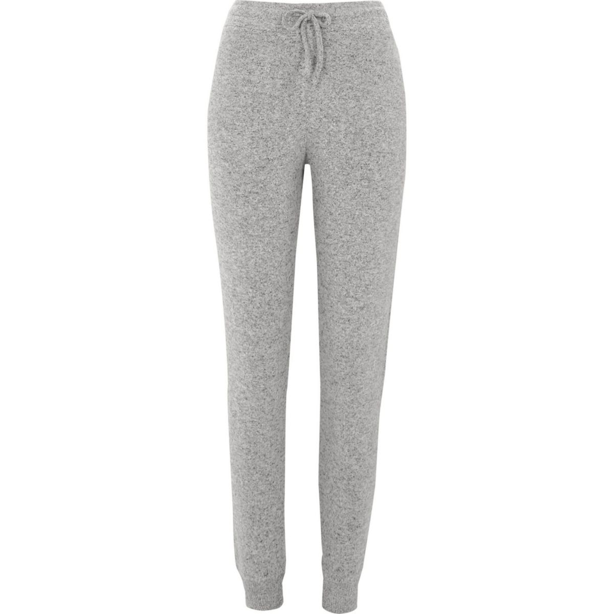Grey brushed ribbed jersey joggers