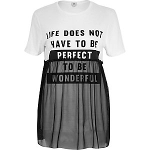 Wit 'life does not' T-shirt met mesh bovenlaag
