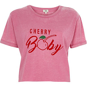 Roze cropped burn-out T-shirt met 'cherry baby'-print
