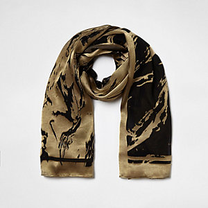 Khaki green burnout scarf