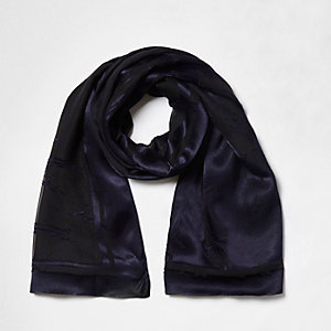 Navy burnout velvet scarf