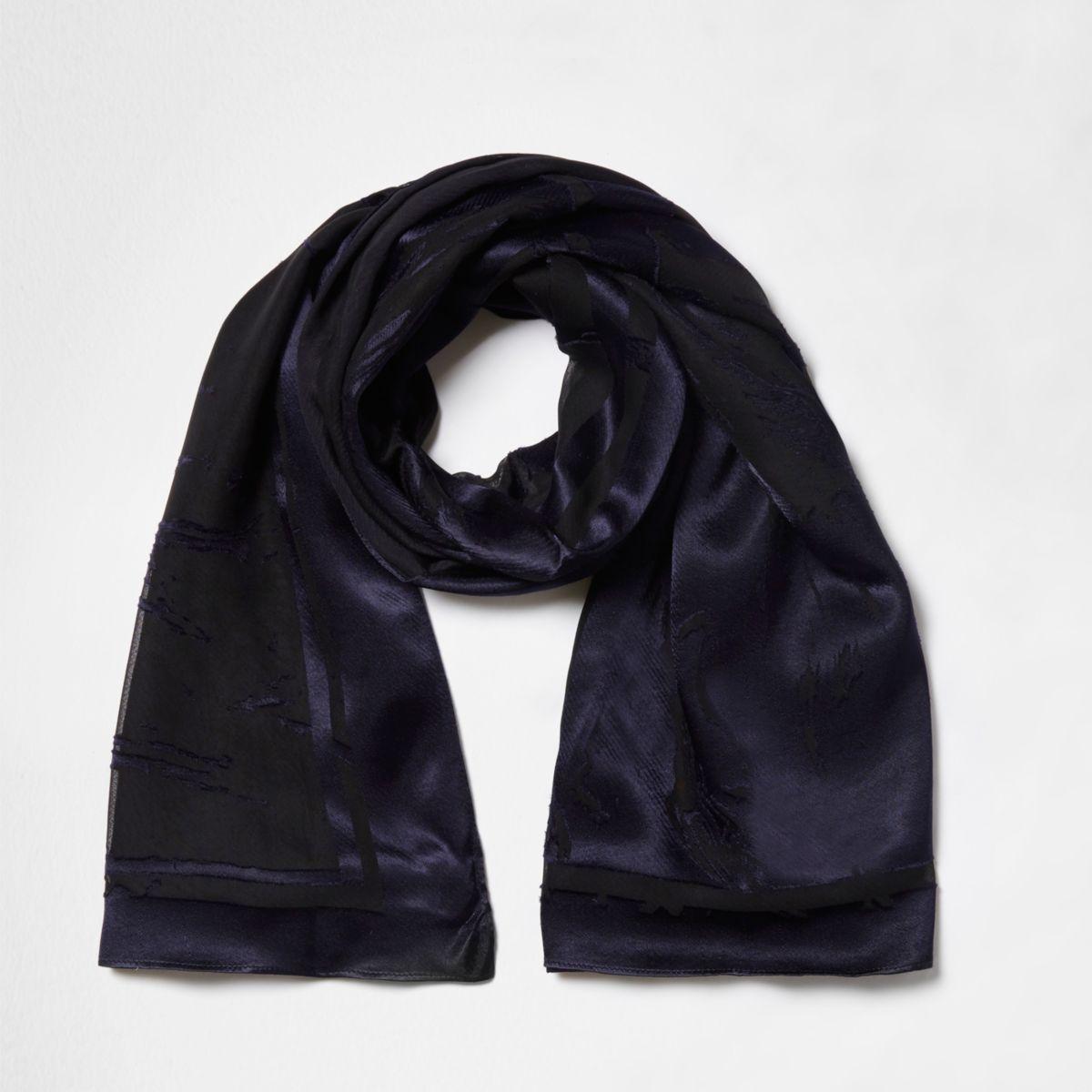 Navy burnout velvet scarf