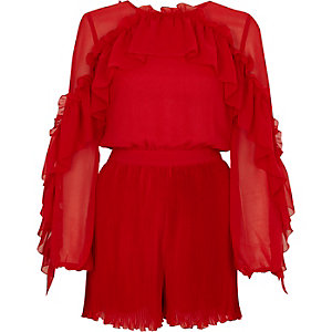 Red chiffon frill pleated romper