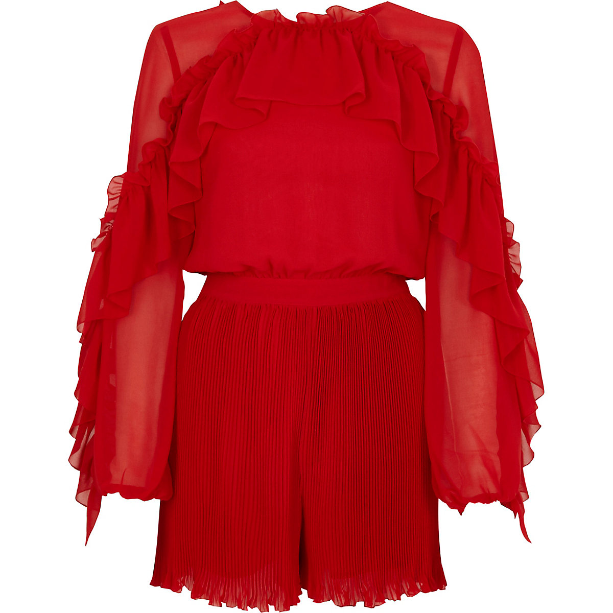 Red chiffon frill pleated playsuit