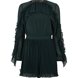 Dark green chiffon frill pleated romper