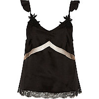 Black satin applique strap lace pyjama top