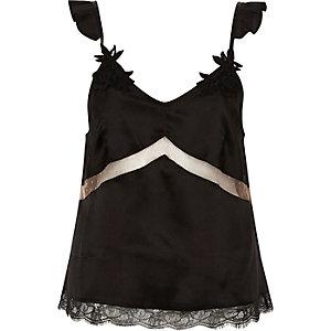 Schwarzes Pyjama-Oberteil mit Applikation