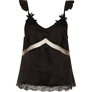 Black satin applique strap lace pajama top