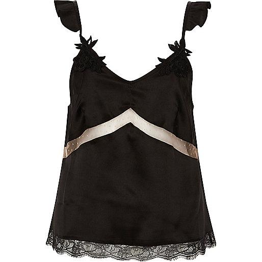 Black satin applique strap lace pajama top