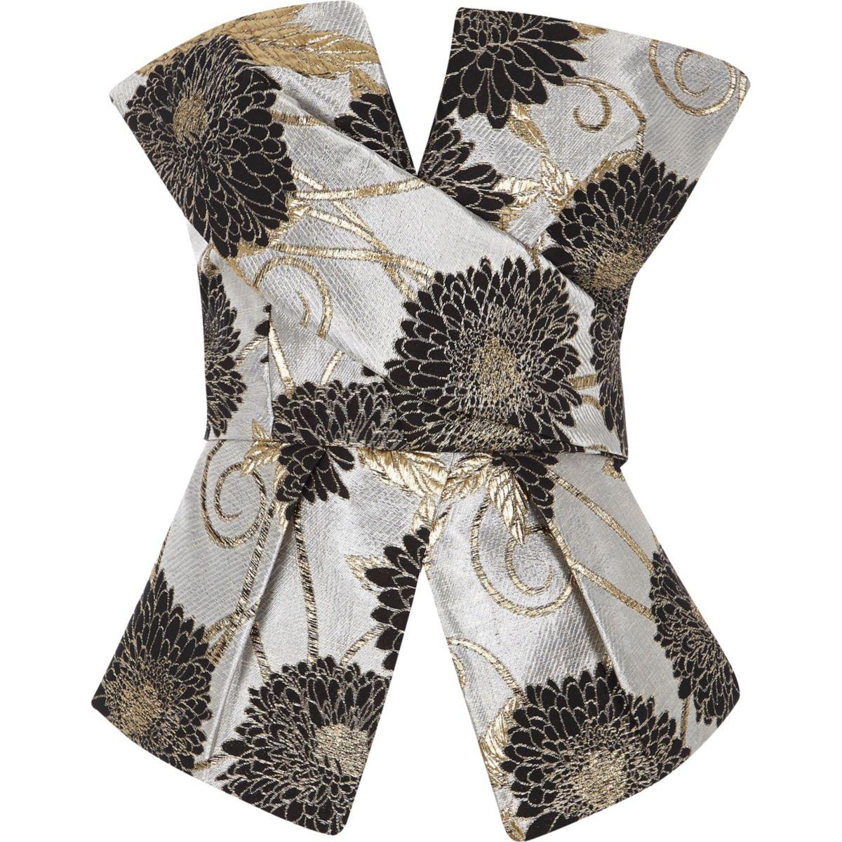 Grey jacquard wrap bow bandeau crop top