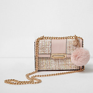 Pink block boucle knit mini satchel bag
