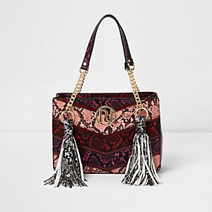 Red multi snakeskin tassel chain tote bag