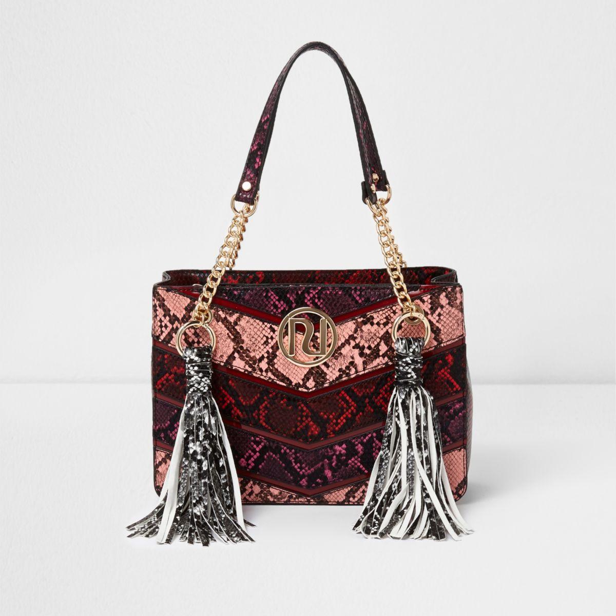 Red multi snakeskin tassel chain tote bag