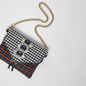 Orange check gem embellished chain bag