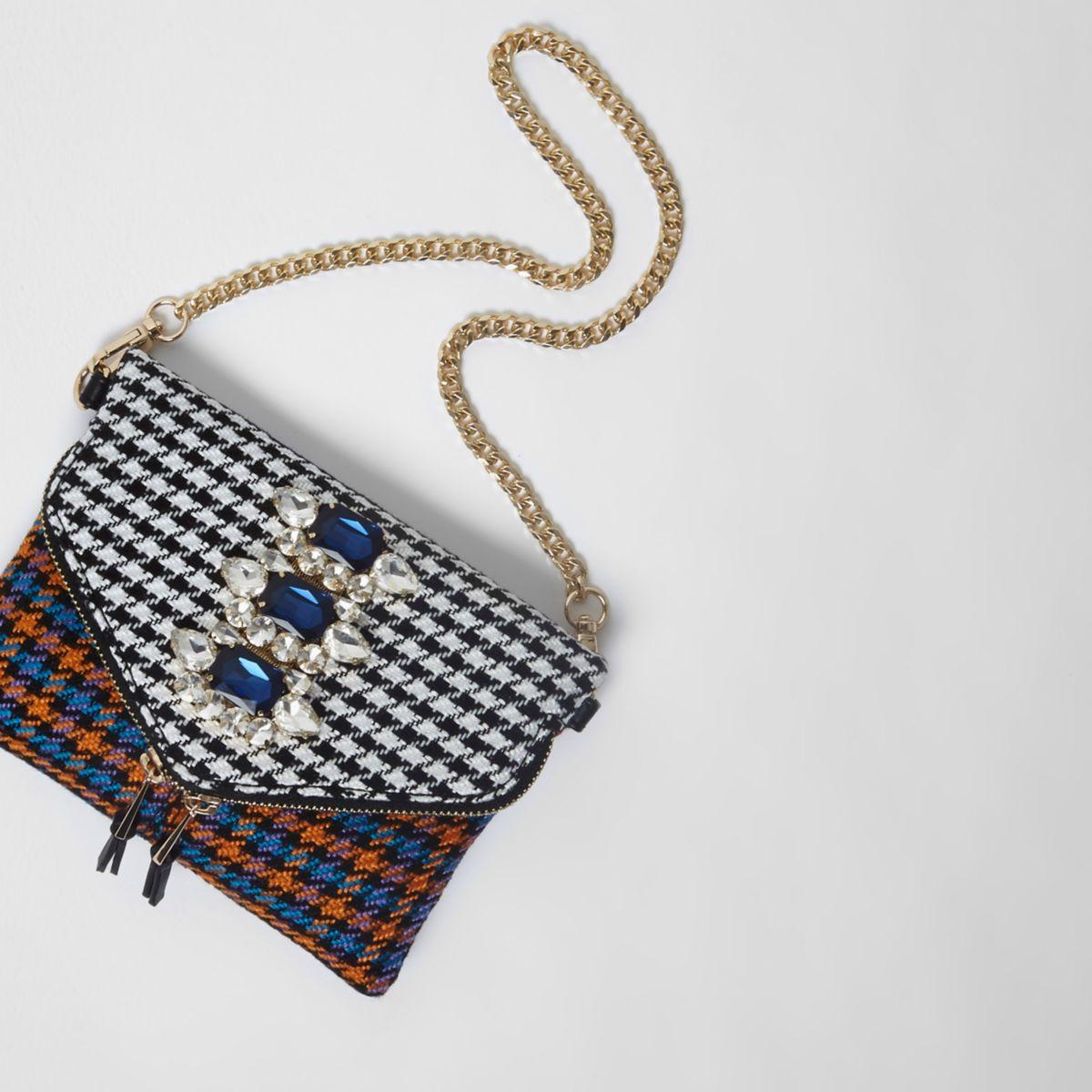 Orange check gem embellished chain bag