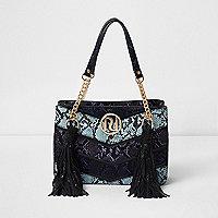 Blue multi snakeskin tassel chain tote bag