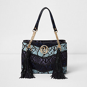 Blue multi snakeskin tassel chain tote bag