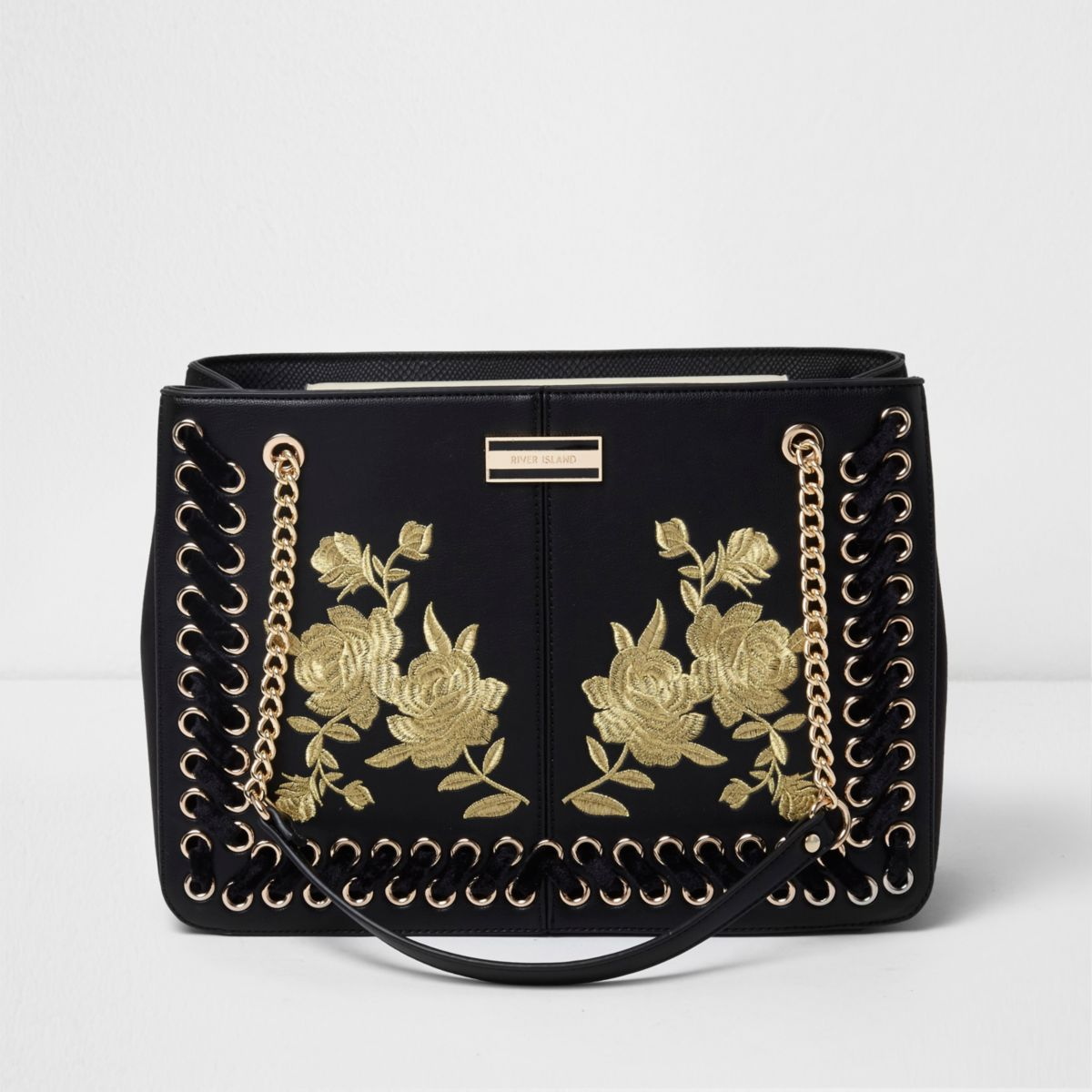 Black floral embroidered chain tote bag