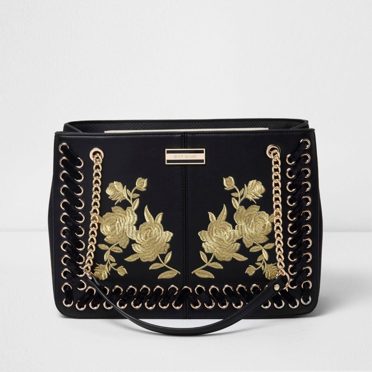 Zwarte geborduurde handtas met bloemenprint en ketting