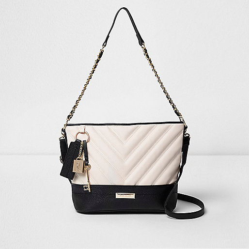 Black quilted chain bucket bag