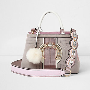 Pink jewel embellished strap mini tote bag