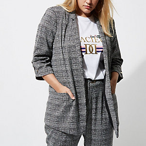 Plus grey check bar cuff blazer