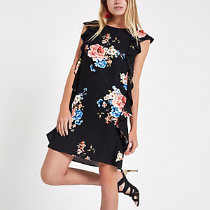 Black floral frill sleeveless swing dress