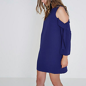 Blue cold shoulder long sleeve swing dress