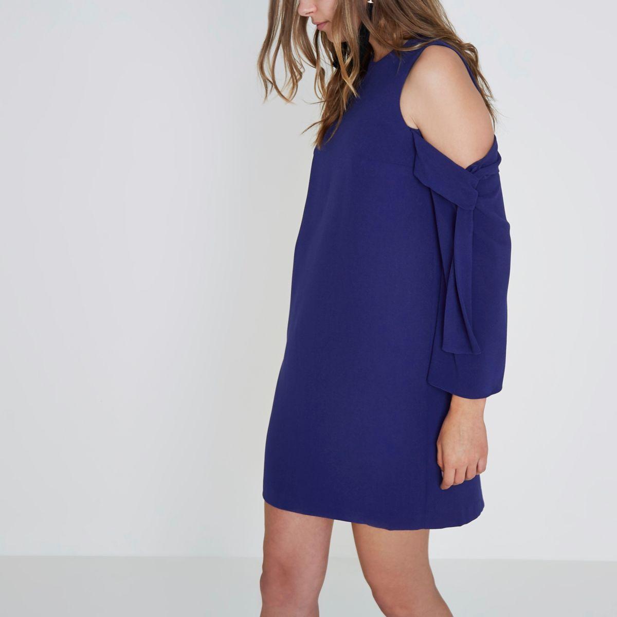 Blue cold shoulder long sleeve swing dress