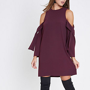 Purple cold shoulder swing dress