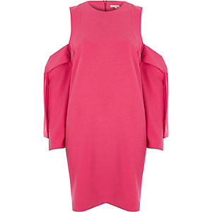 Bright pink cold shoulder swing dress