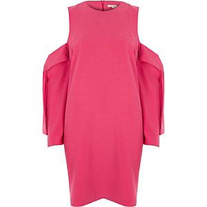 Hellpinkes Swing-Kleid mit Schulterausschnitten
