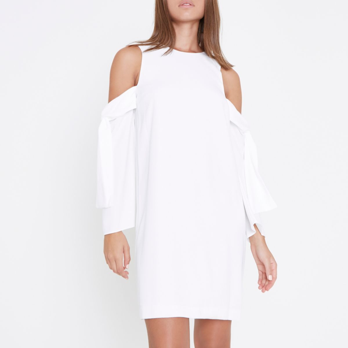 White cold shoulder tie sleeve swing dress