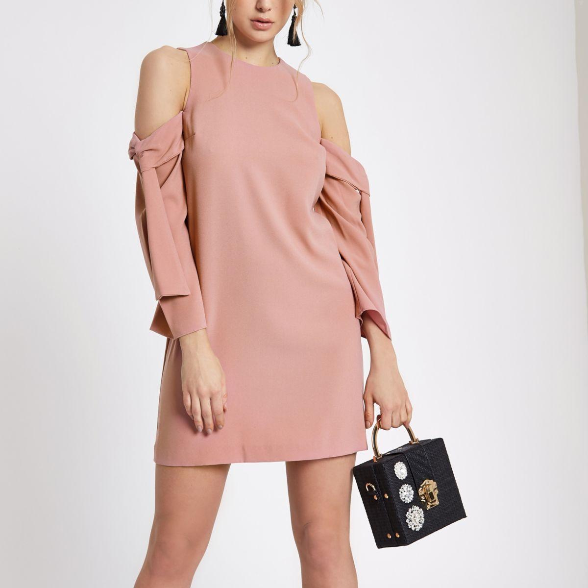 Light pink cold shoulder swing dress